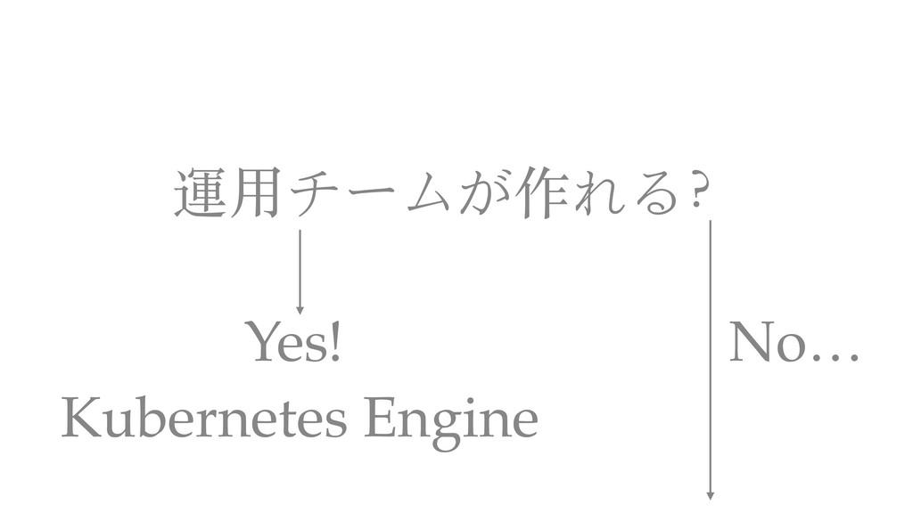 運⽤チームが作れる? Kubernetes Engine Yes! No…
