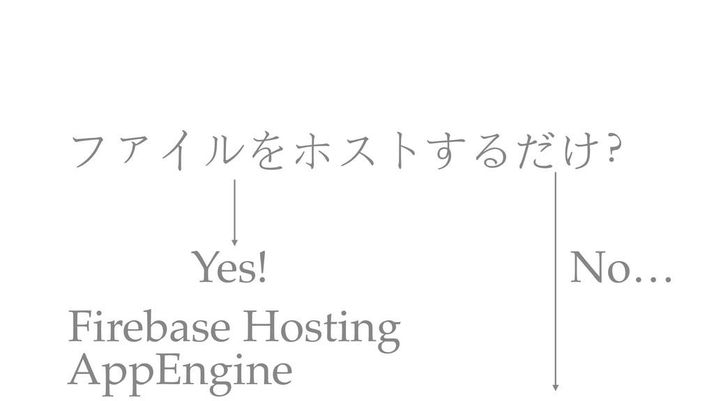 ファイルをホストするだけ? Firebase Hosting Yes! No… AppEngi...