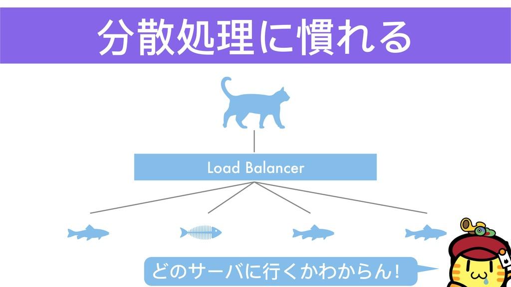 分散処理理に慣れる Load Balancer どのサーバに⾏行行くかわからん!