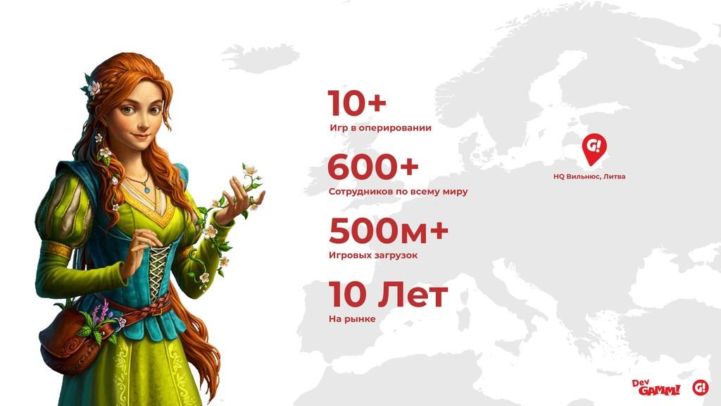 600+ Сотрудников по всему миру 500м+ Игровых за...
