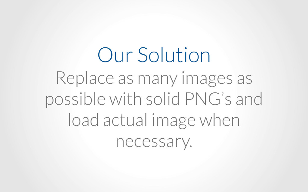 Our Solution Replace as many images as possible...