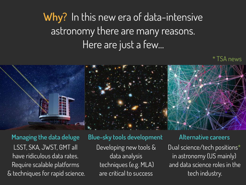Why? In this new era of data-intensive astronom...