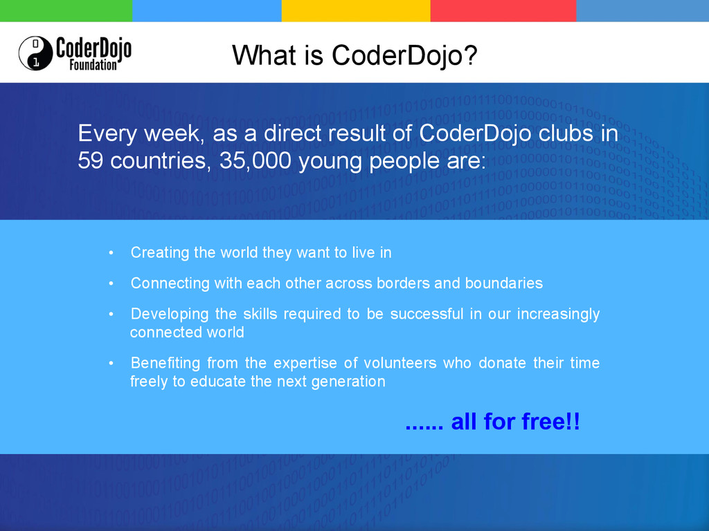What is CoderDojo? • Creating the world they w...