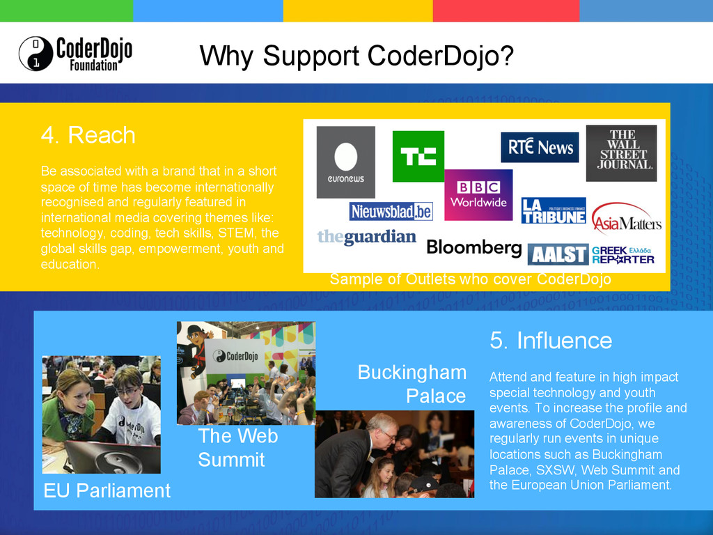 Sample of Outlets who cover CoderDojo 4. Reach ...