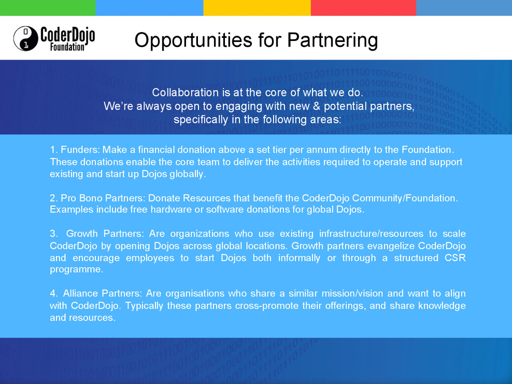 Opportunities for Partnering 1. Funders: Make ...