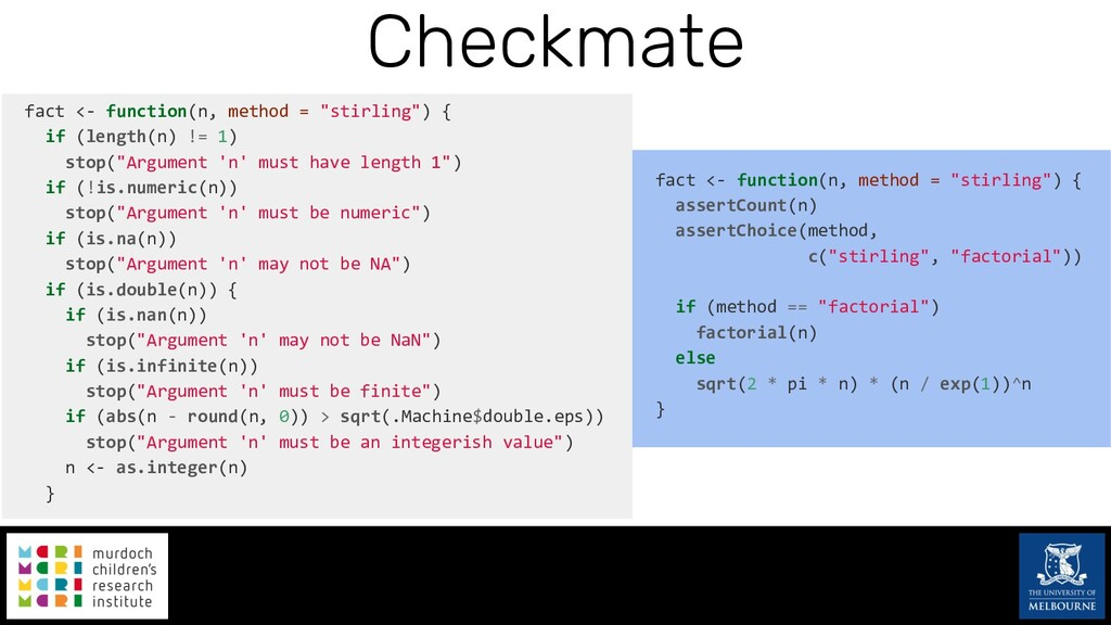 """Checkmate fact <- function(n, method = """"stirlin..."""