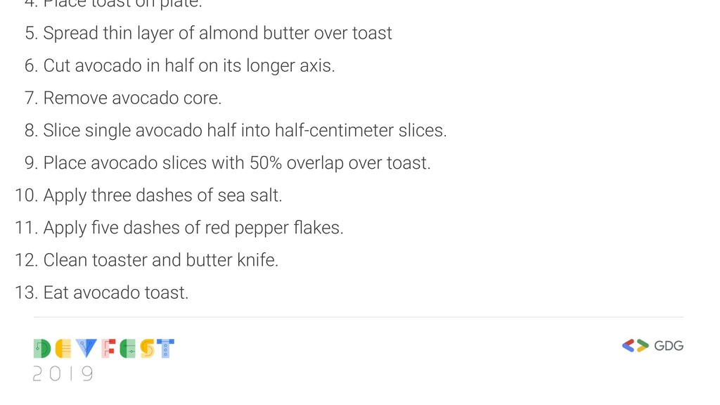 4. Place toast on plate. 5. Spread thin layer o...