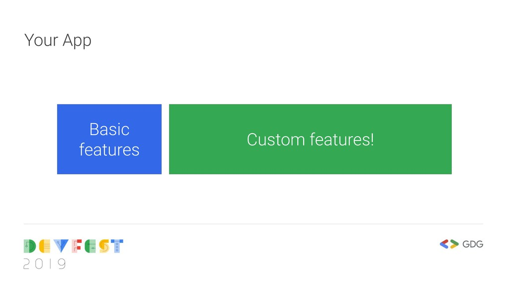 Your App Basic features Custom features!