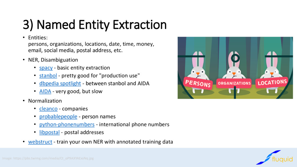 3) Named Entity Extraction Entities: • persons,...