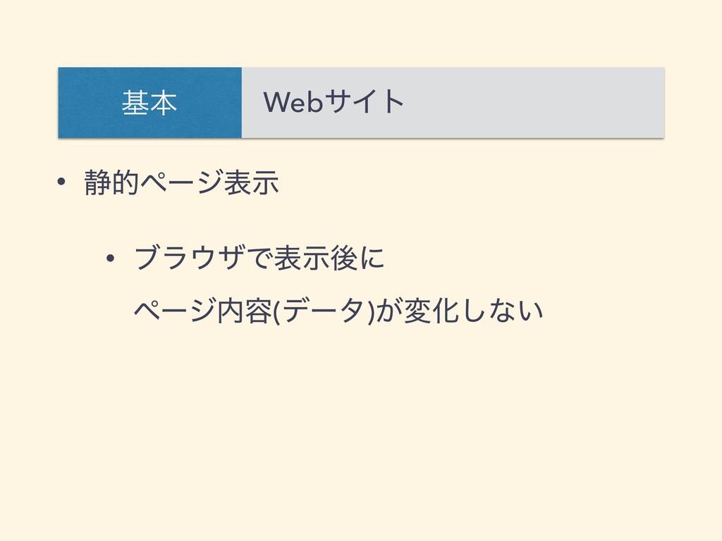 • ੩తϖʔδදࣔ • ϒϥβͰදࣔޙʹ ϖʔδ༰(σʔλ)͕มԽ͠ͳ͍ WebαΠτ ...