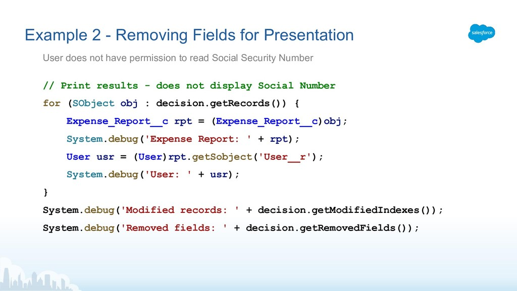 Example 2 - Removing Fields for Presentation //...