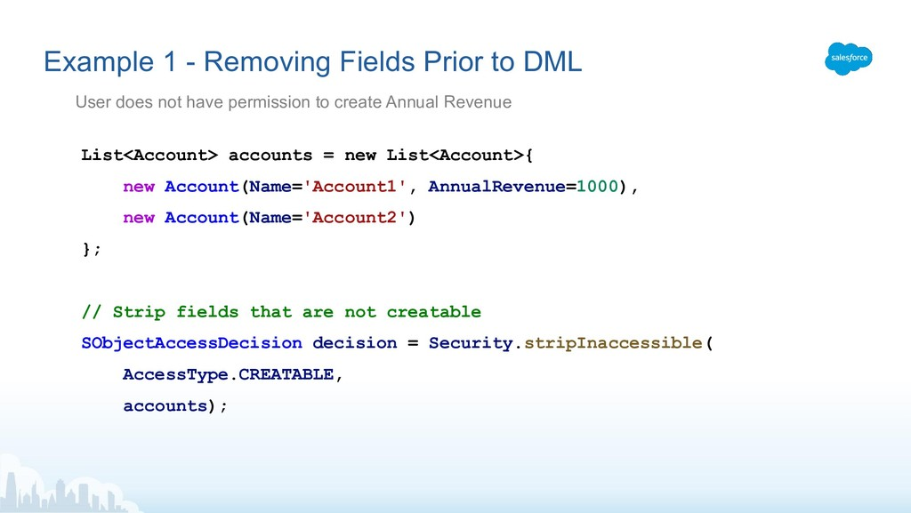Example 1 - Removing Fields Prior to DML List<A...