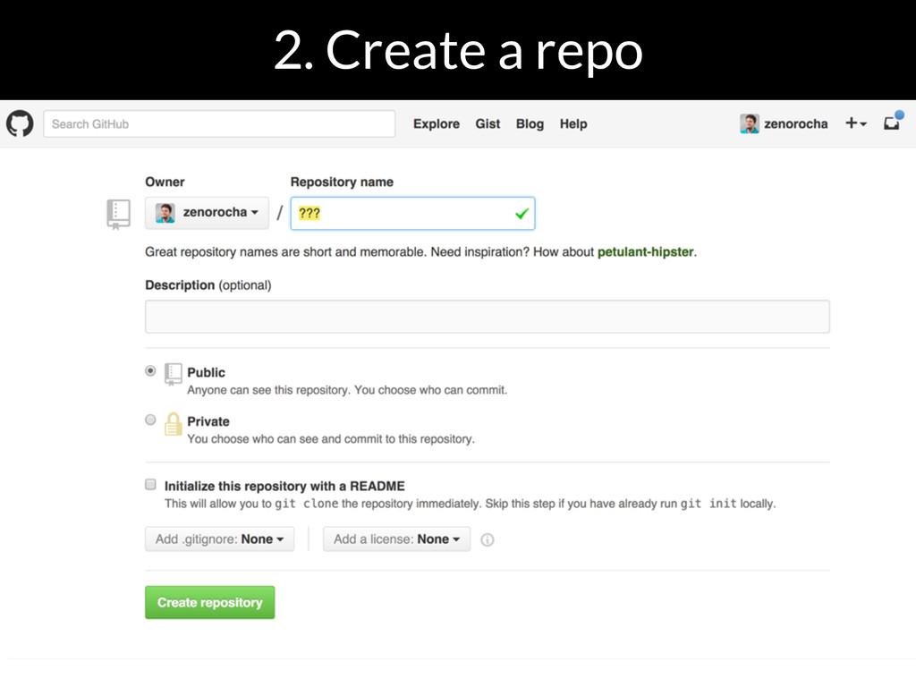 2. Create a repo