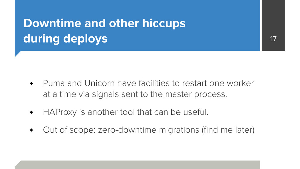 Downtime and other hiccups during deploys Puma...
