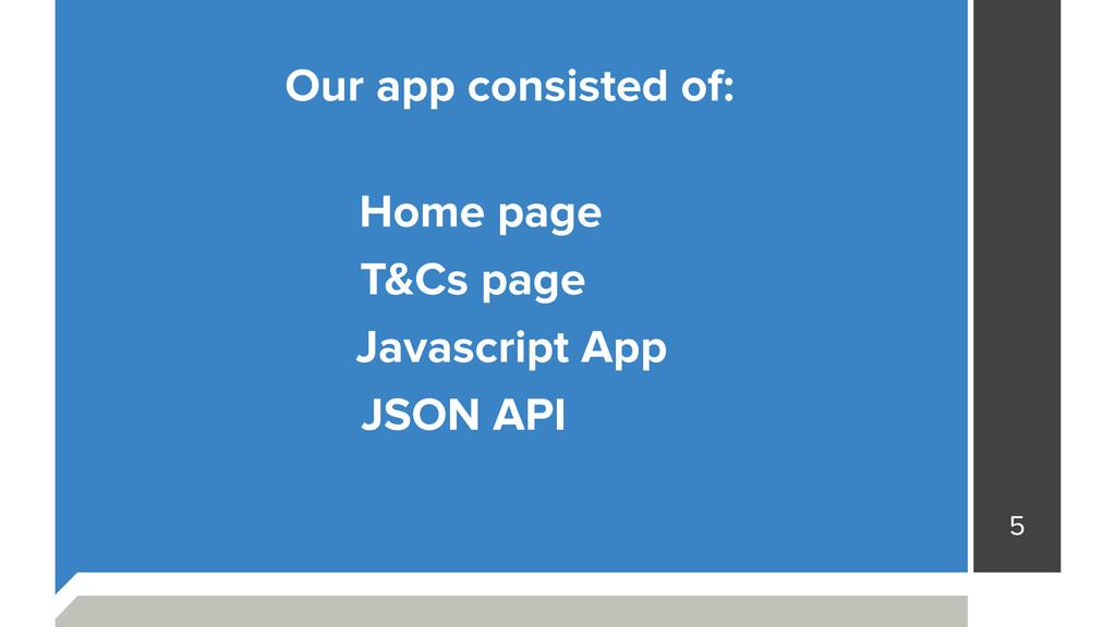 5 Javascript App JSON API T&Cs page Home page O...