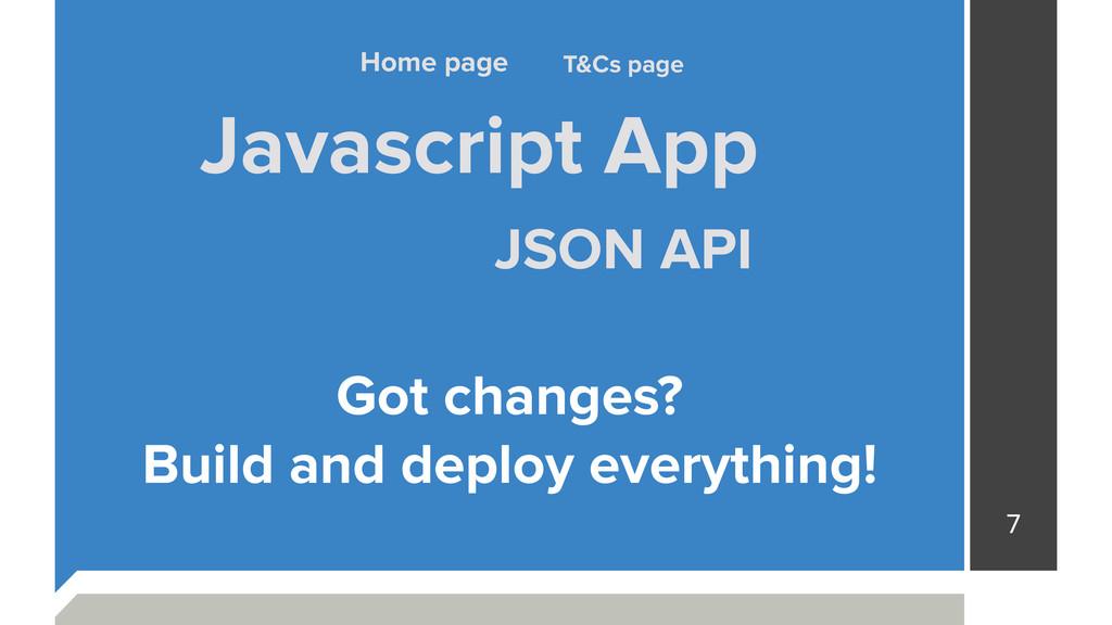 7 Javascript App JSON API T&Cs page Home page G...