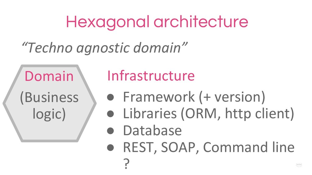 "WHY ?Hexagonal architecture ""Techno agnostic do..."