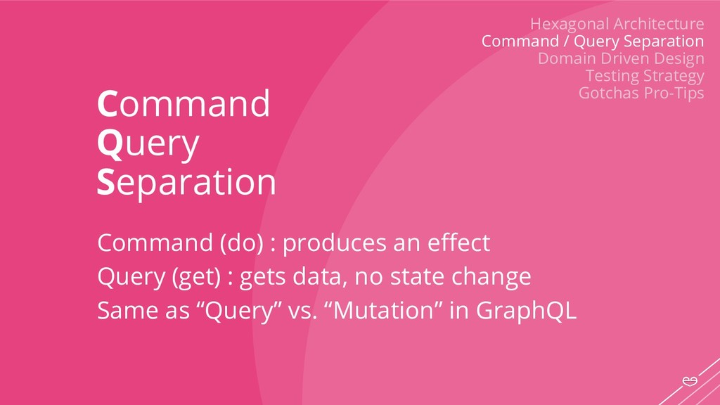 Command Query Separation Command (do) : produce...
