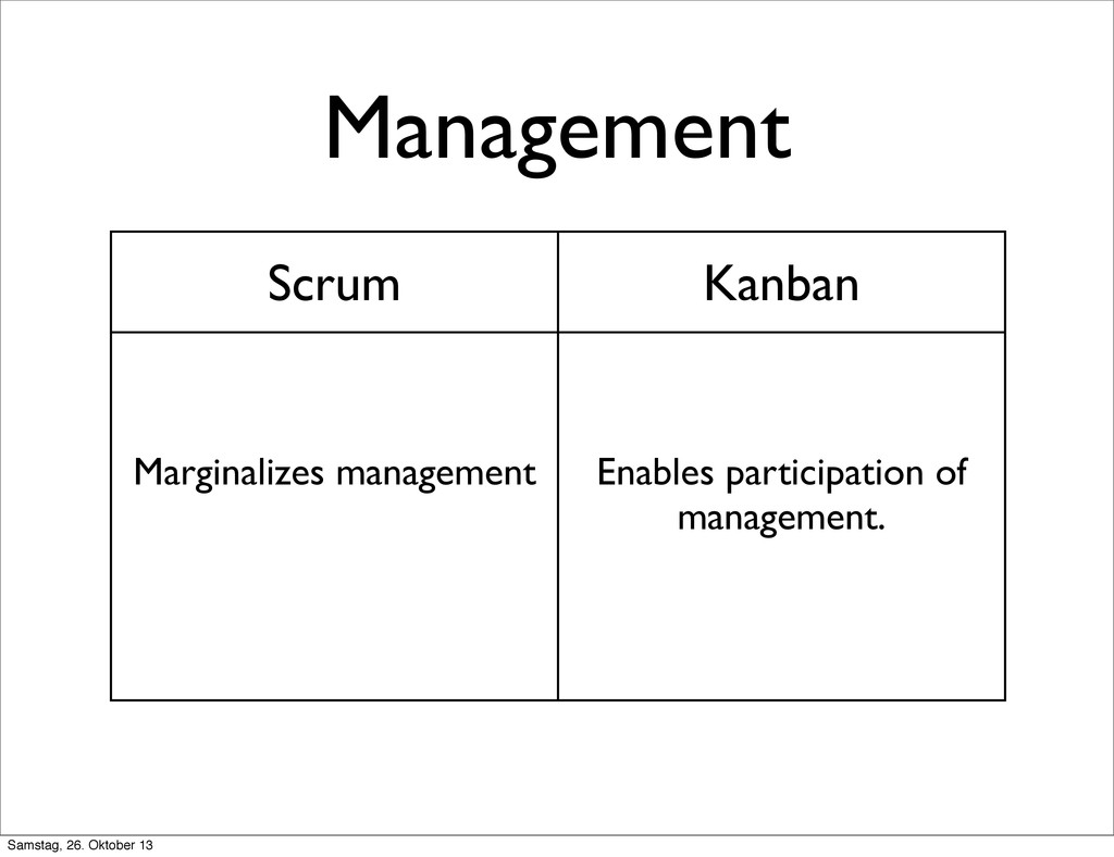 Management Scrum Kanban Marginalizes management...