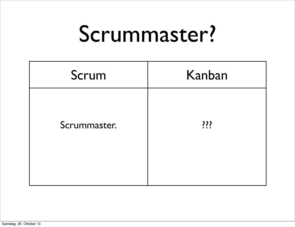 Scrummaster? Scrum Kanban Scrummaster. ??? Sams...