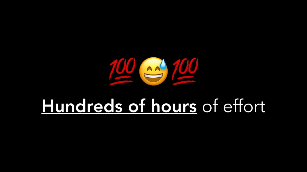 Hundreds of hours of effort