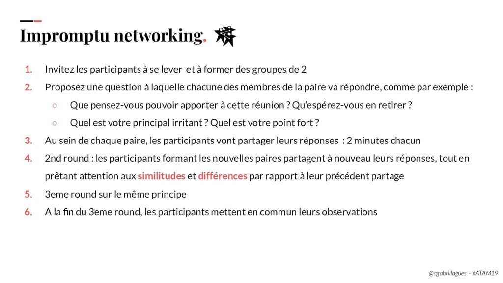 89. Impromptu networking. 1. Invitez les partic...