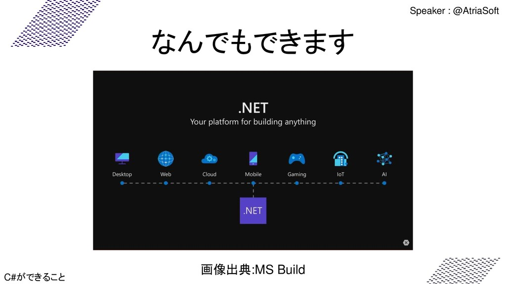 なんでもできます C#ができること 画像出典:MS Build Speaker : @Atri...