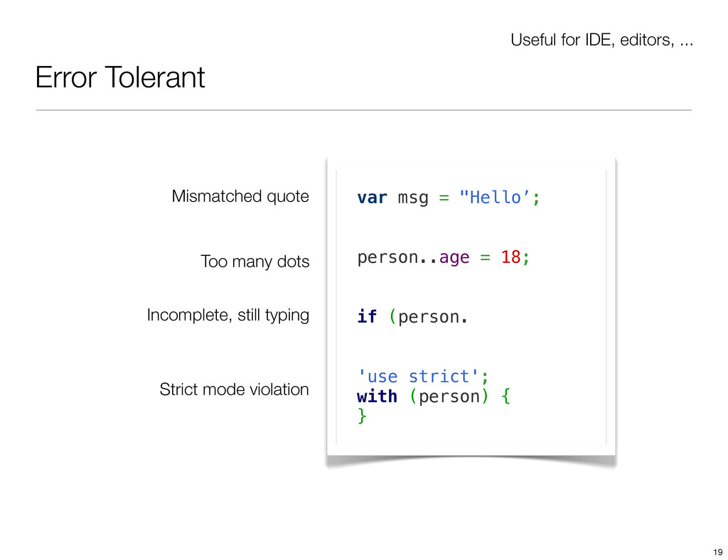 Error Tolerant Useful for IDE, editors, ... var...