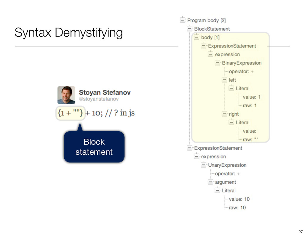 Syntax Demystifying Block statement 27