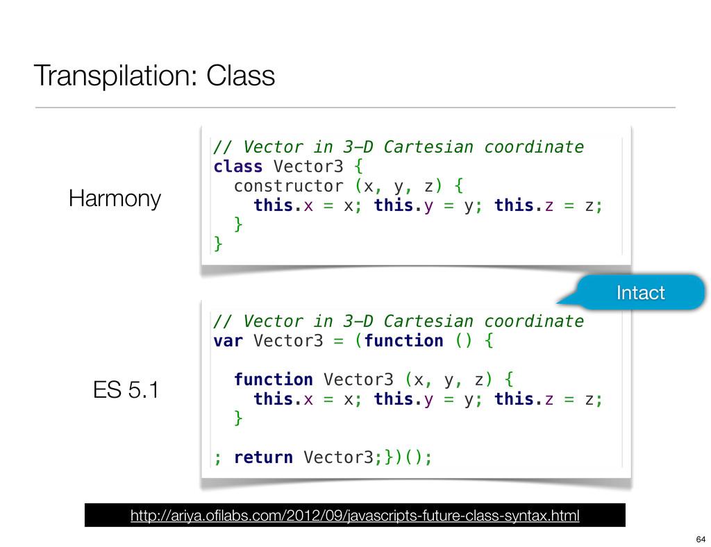Transpilation: Class Harmony ES 5.1 // Vector i...
