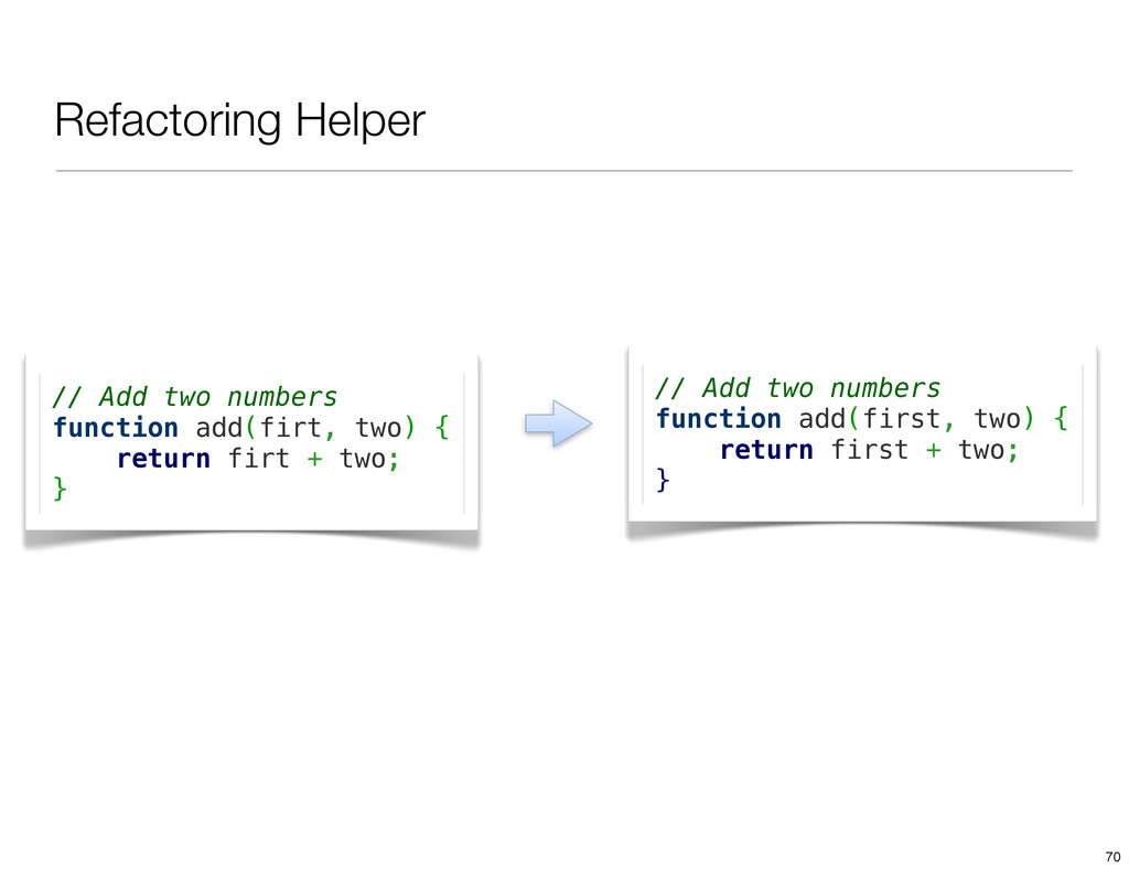 Refactoring Helper // Add two numbers function ...