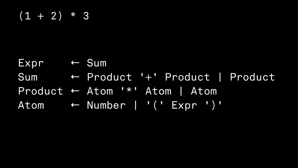(1 + 2) * 3 Expr ← Sum Sum ← Product '+' Produc...