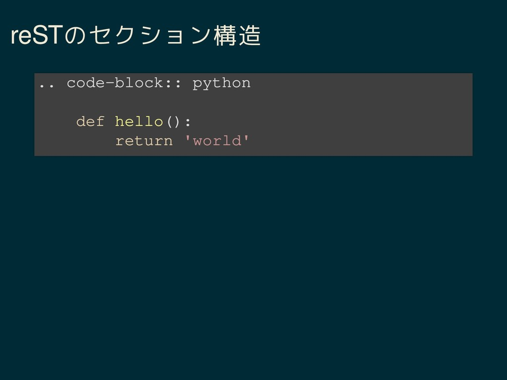 reSTのセクション構造 .. code-block:: python def hello()...