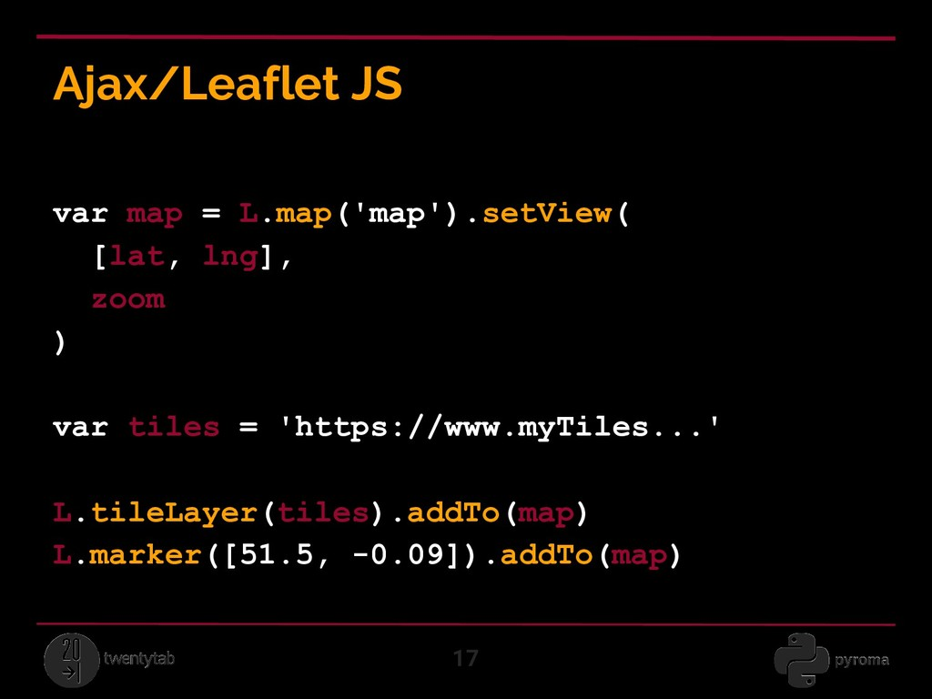 Ajax/Leaflet JS 17 var map = L.map('map').setVi...