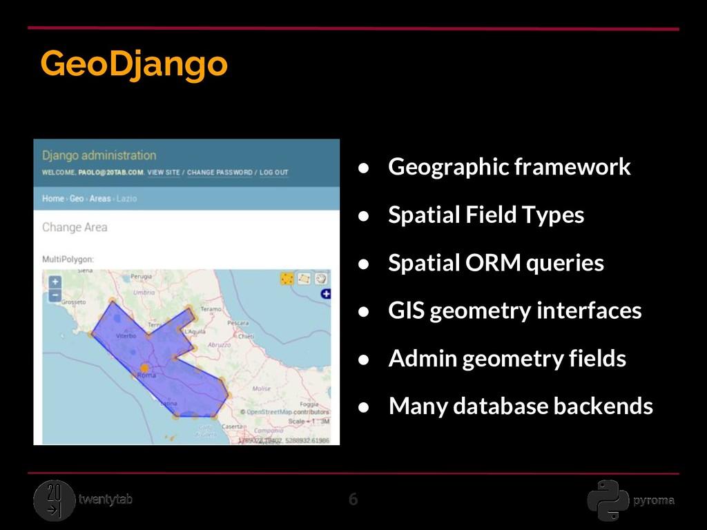 GeoDjango 6 ● Geographic framework ● Spatial Fi...
