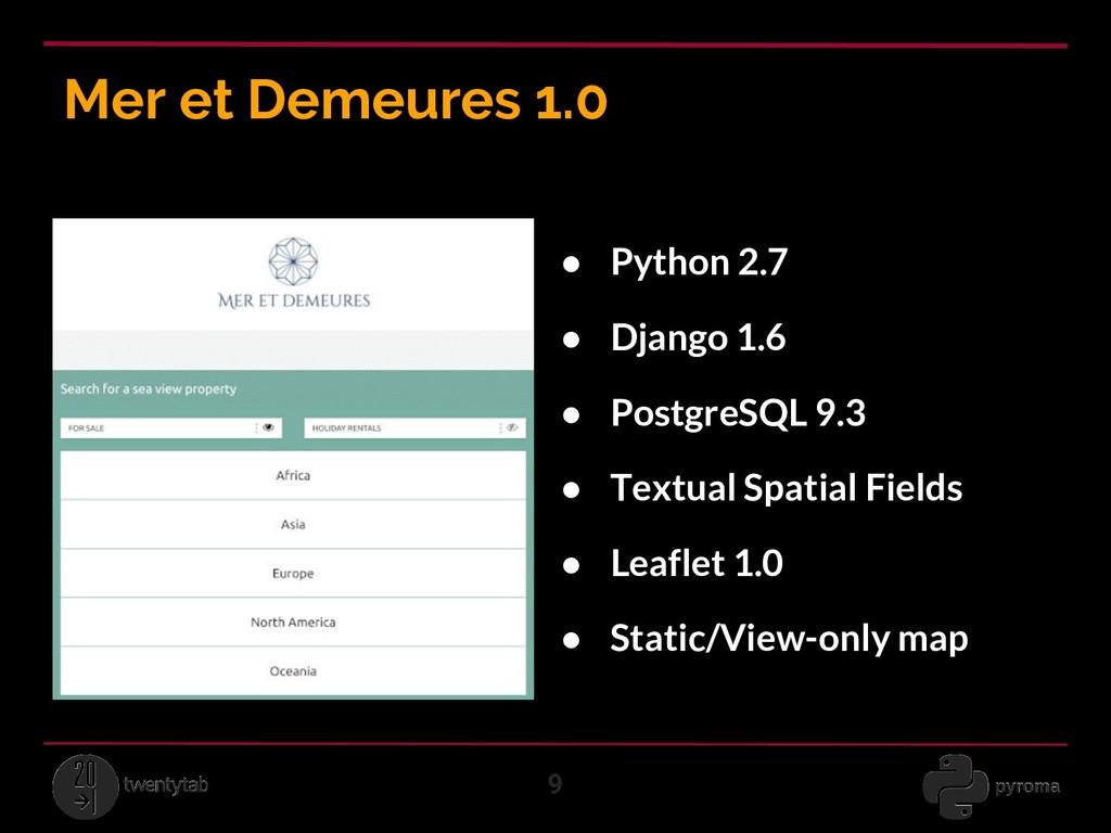 Mer et Demeures 1.0 9 ● Python 2.7 ● Django 1.6...