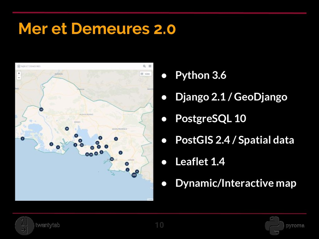 Mer et Demeures 2.0 10 ● Python 3.6 ● Django 2....