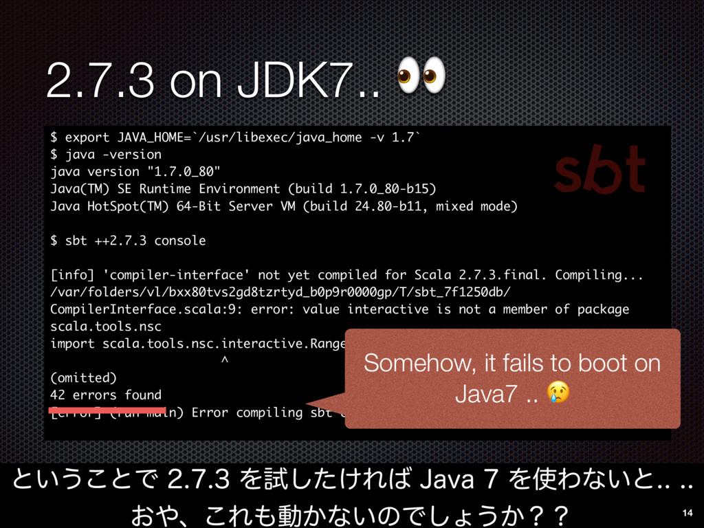 2.7.3 on JDK7..  ͱ͍͏͜ͱͰΛࢼ͚ͨ͠Ε+BWBΛ...