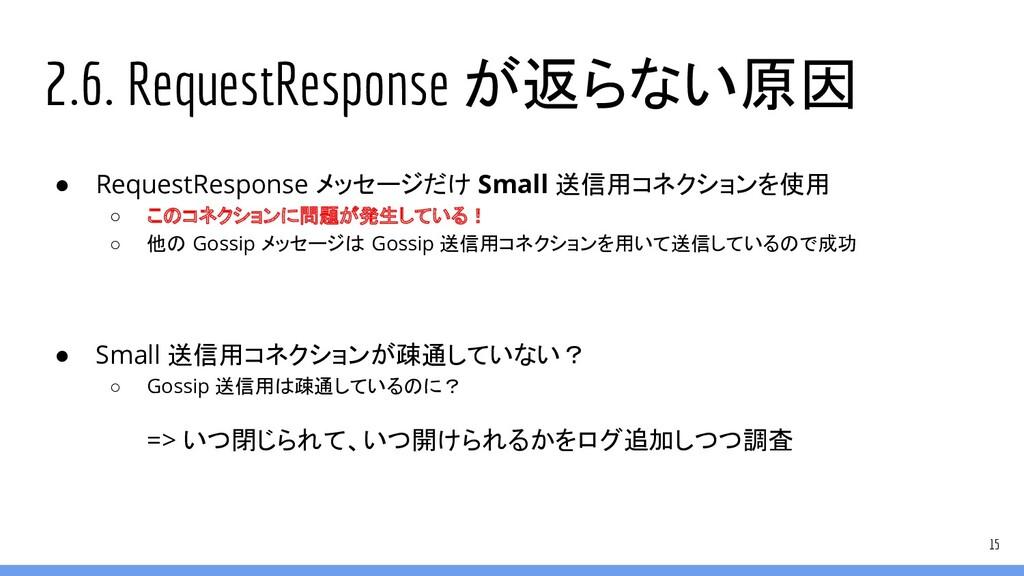 2.6. RequestResponse が返らない原因 ● RequestResponse ...