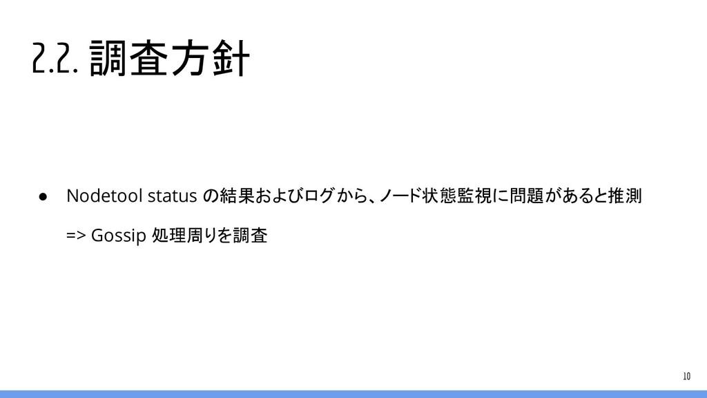 2.2. 調査方針 ● Nodetool status の結果およびログから、ノード状態監視に...