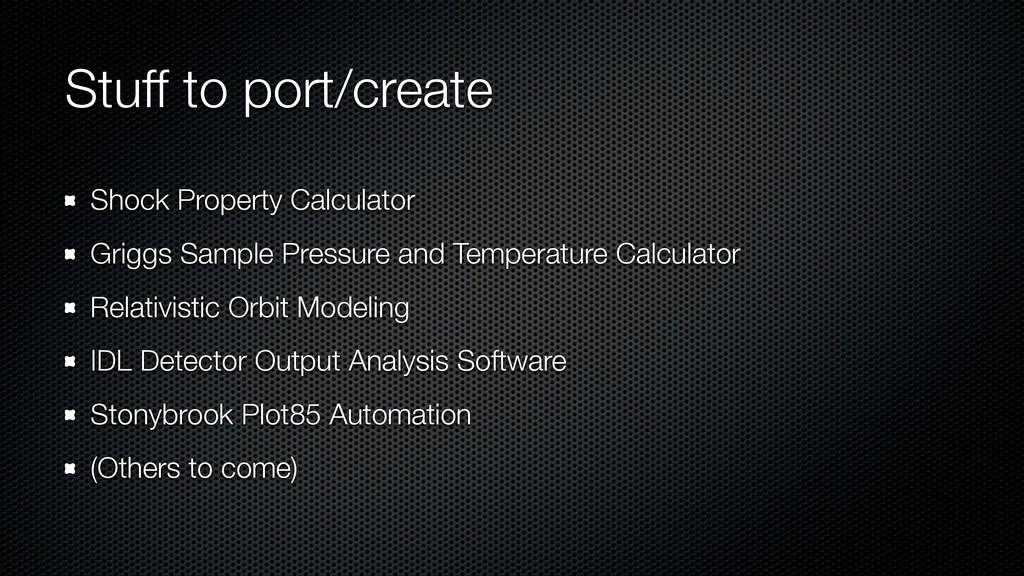 Stuff to port/create Shock Property Calculator ...