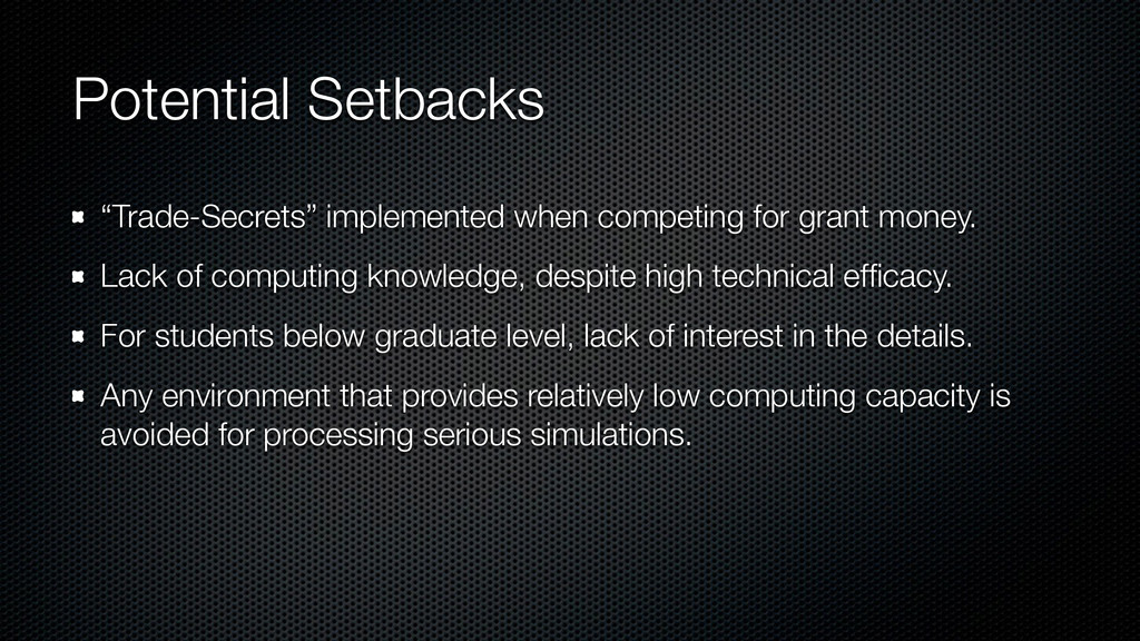 "Potential Setbacks ""Trade-Secrets"" implemented ..."