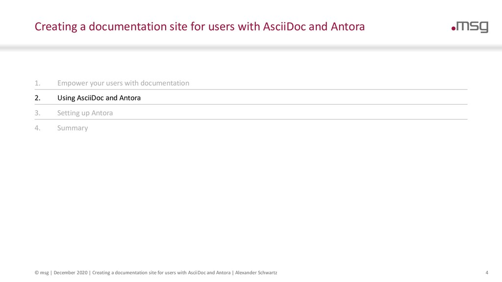 4 Creating a documentation site for users with ...