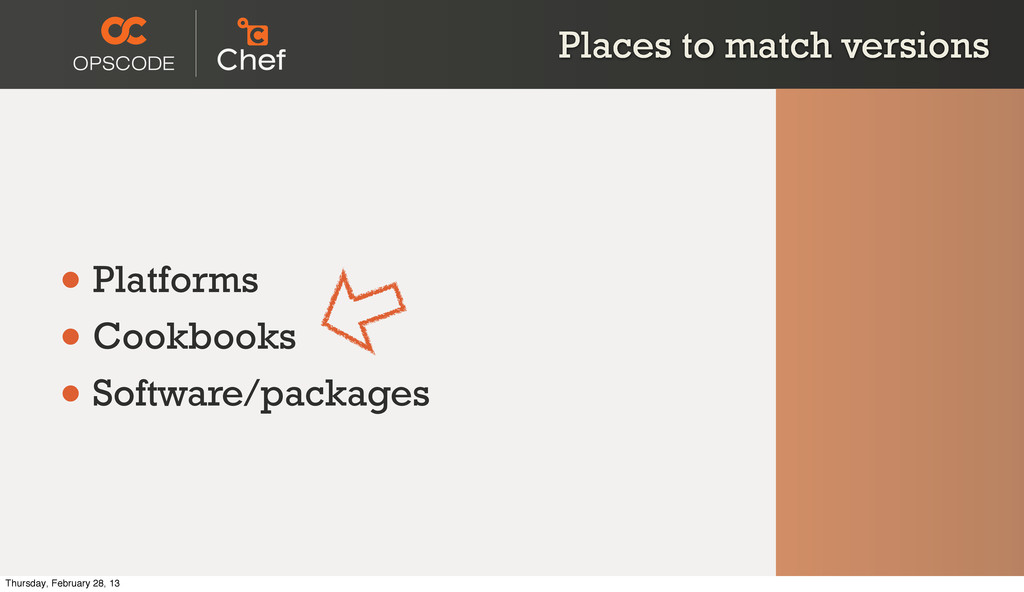 Places to match versions • Platforms • Cookbook...