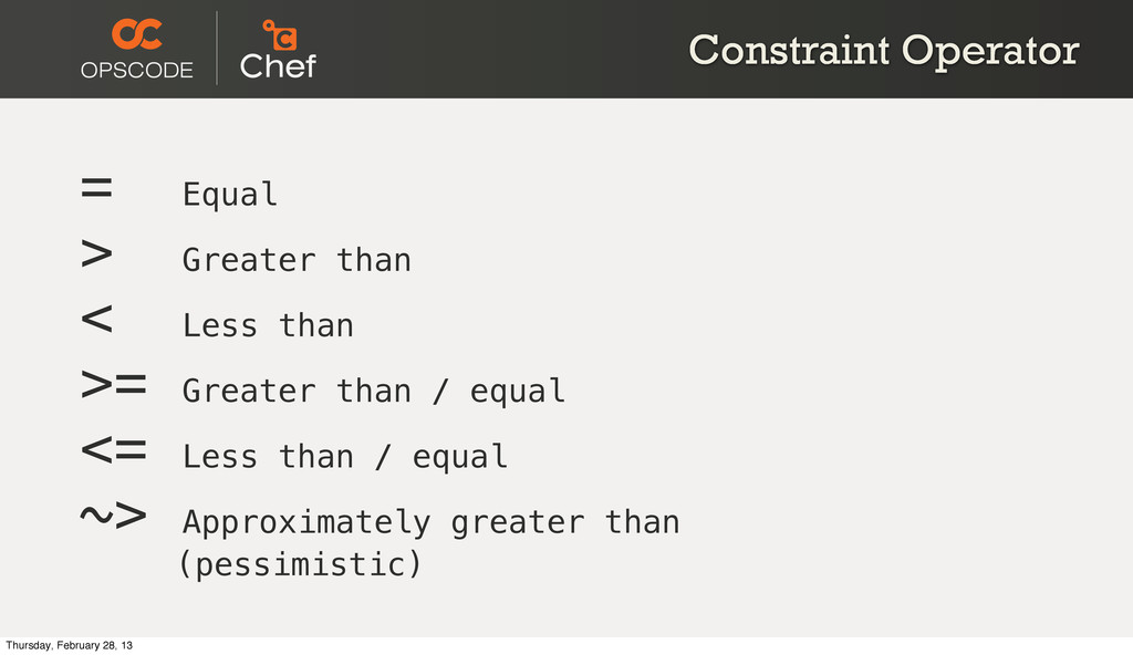 Constraint Operator = Equal > Greater than < Le...