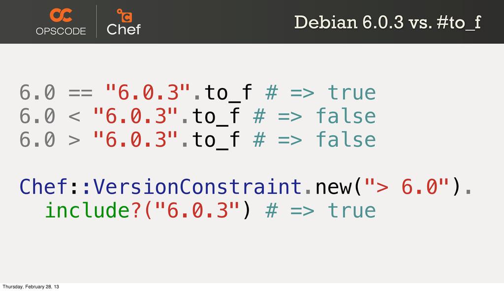 "Debian 6.0.3 vs. #to_f 6.0 == ""6.0.3"".to_f # =>..."