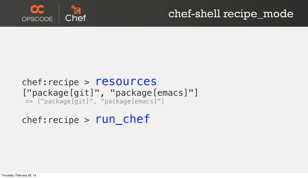 chef-shell recipe_mode chef:recipe > resources ...