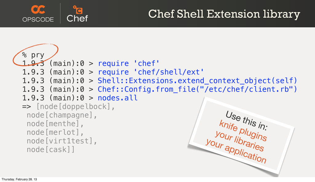 Chef Shell Extension library % pry 1.9.3 (main)...
