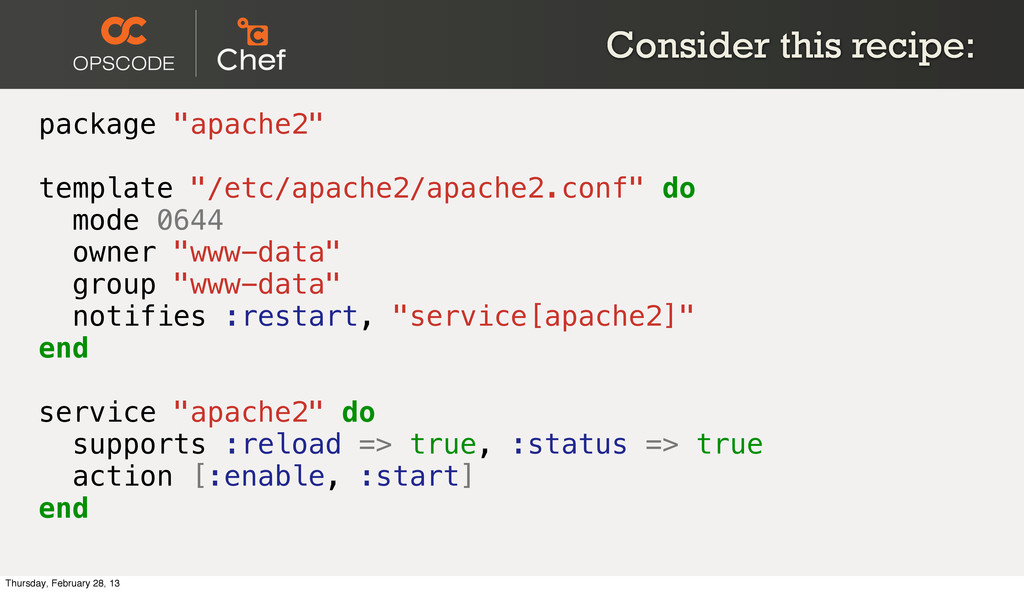 """Consider this recipe: package """"apache2"""" templat..."""