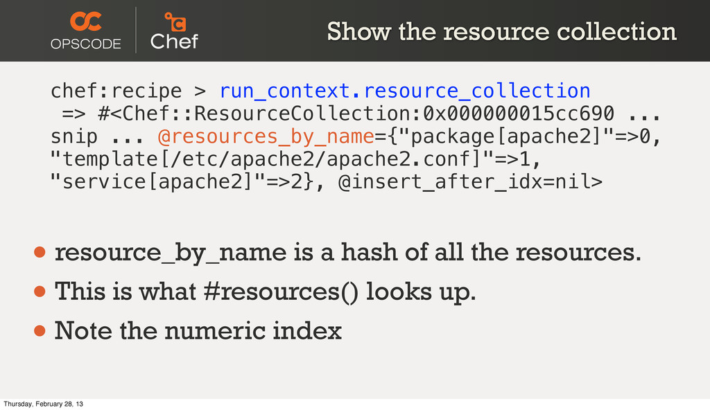 Show the resource collection chef:recipe > run_...